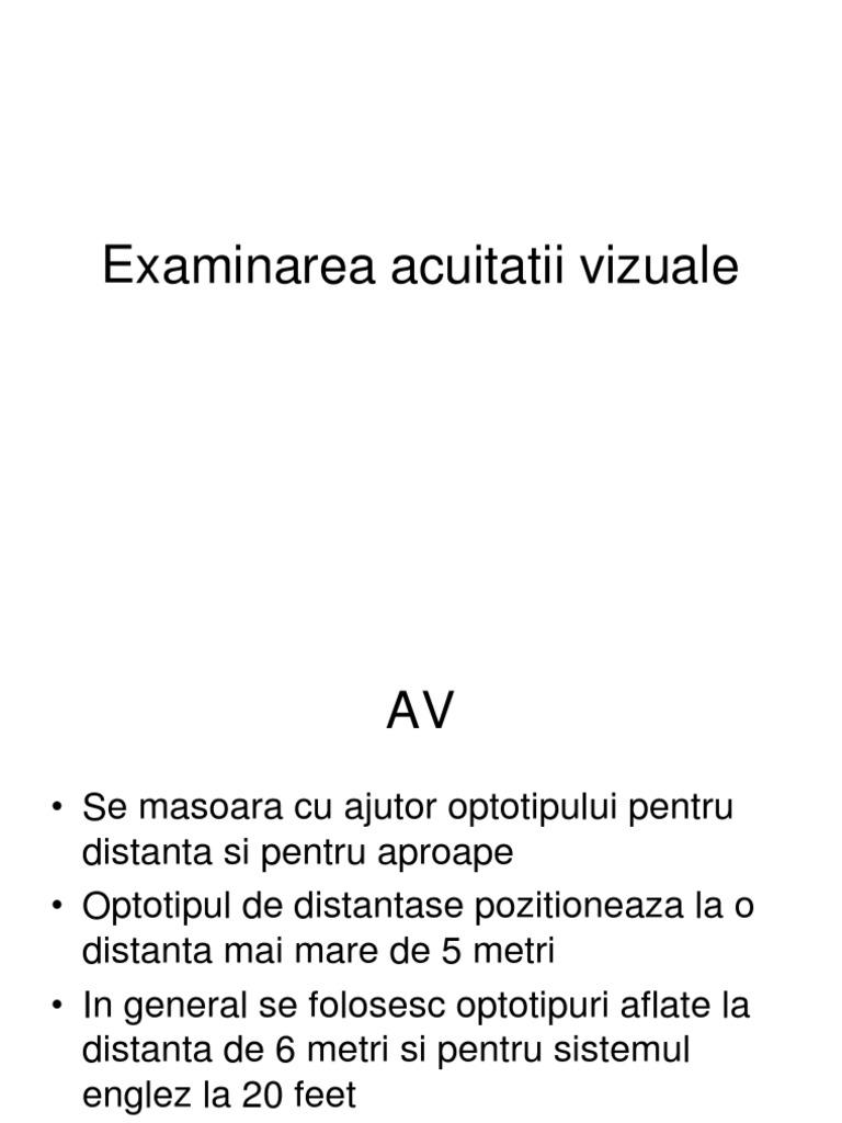 studiu de acuitate vizuală la distanță)