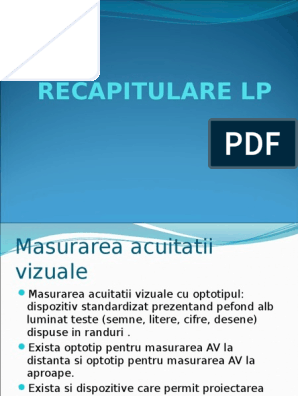 principiile măsurării acuității vizuale)