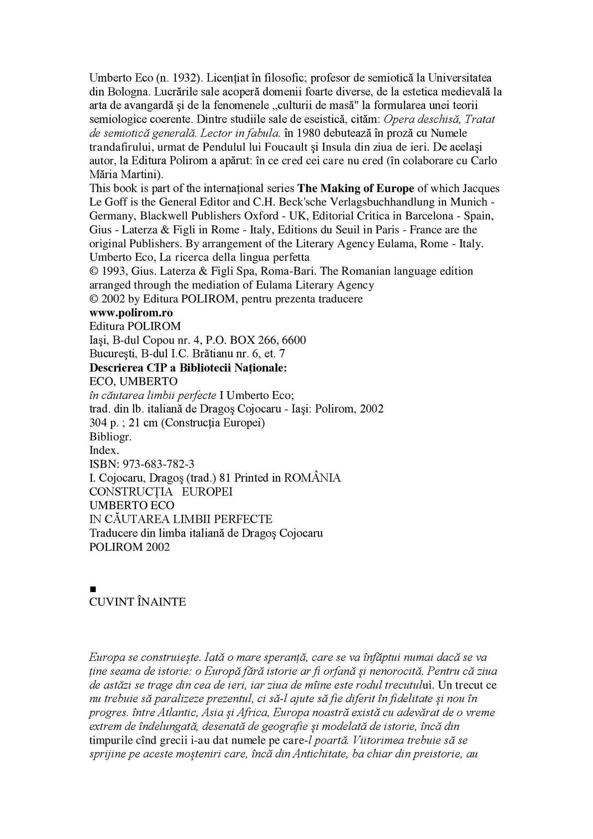 Calaméo - Umberto Eco - In cautarea limbii perfecte