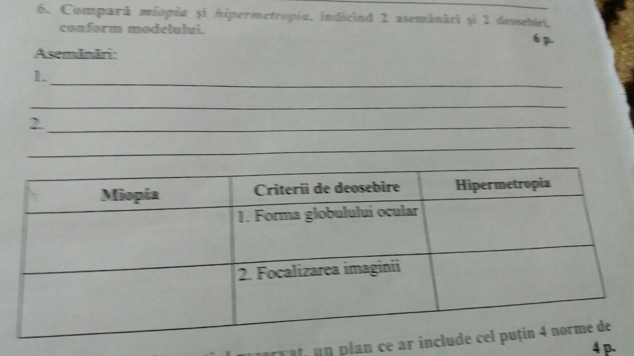 miopia și hipermetropia sunt ambele nume