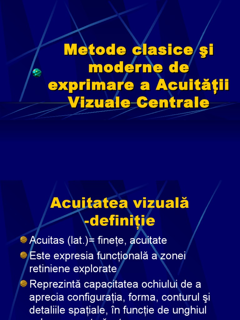 acuitatea vizuală și fixarea)