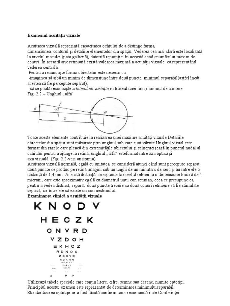 examinarea acuității vizuale folosind tabele)