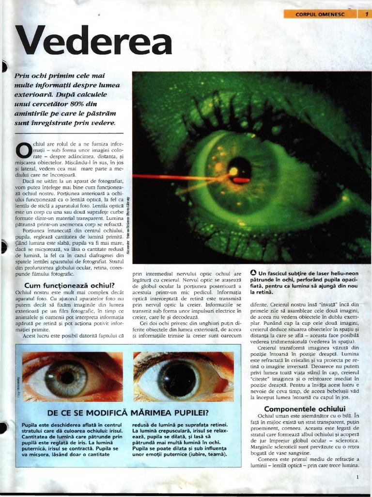 poate restabili vederea ochilor nu vede)