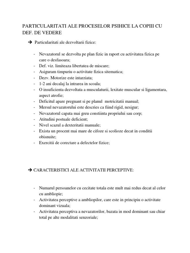 caracteristicile deficienței vizuale ale activității)